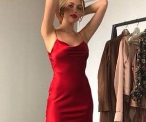 red satin dress image