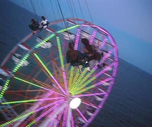 blue, ferris wheel, and green image