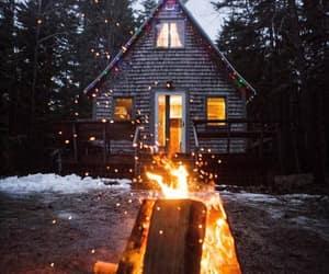 bonfire, campfire, and house image
