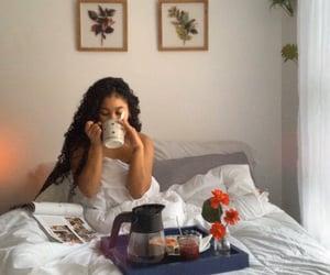 bedroom, breakfast, and vintage image