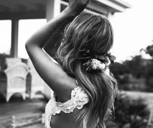 backless, couple, and flowers image