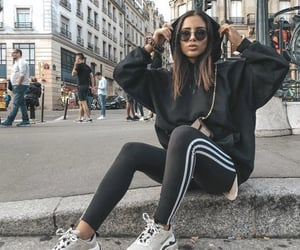 black, fashion, and sweatsuit image