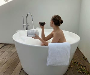 bath, chill, and girl image