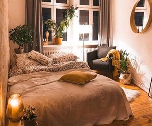 bed, windows, and boho decor image