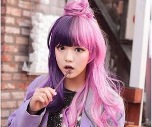 bangs, colorful hair, and hair style image