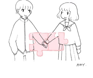 anime, eye contact, and couple image
