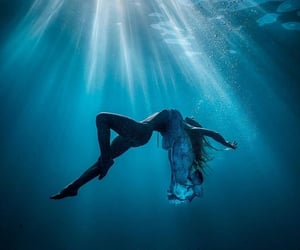 blue, girl, and ocean image