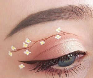 aesthetic, flowers, and eyemakeup image