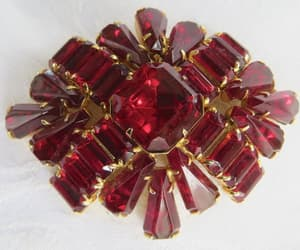 etsy, vintage rhinestone, and red jewelry image