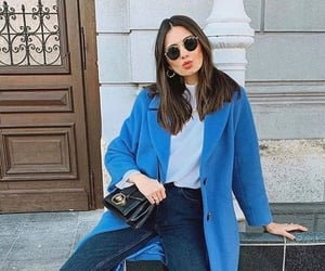 blue, purse, and coat image