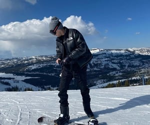 mountain, snow, and snowboard image
