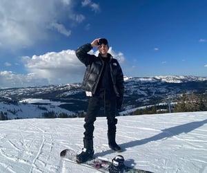 sky, snow, and snowboarding image