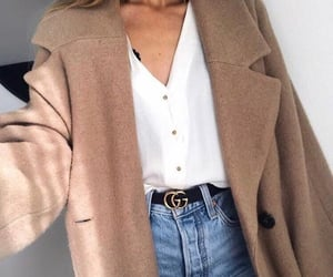 beige, belt, and coat image