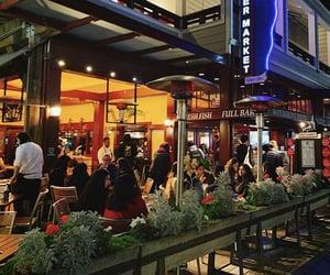 city, night, and restaurant image