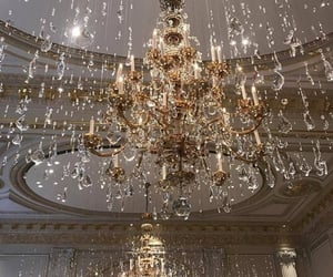chandelier, luxury, and gold image