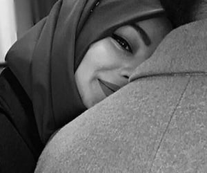 love, couple, and hijab image