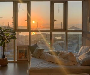 bed, interior, and sunset image