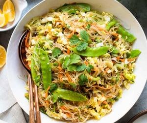 noodles, vegetarian, and vegetarian food image