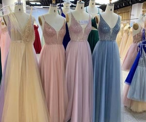 beautiful dress, evening dress, and long prom dress image