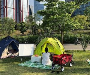 camping, korea, and green image
