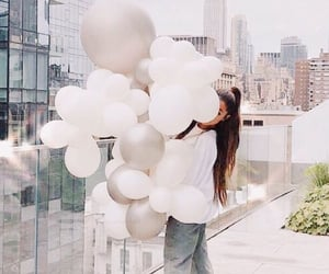 balloons, view, and white image