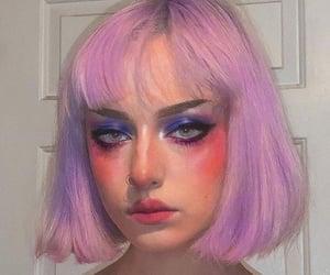 bangs, makeup looks, and purple pink hair image