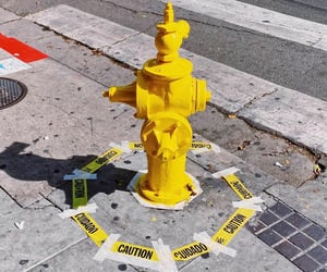 caution, yellow, and hydrant image