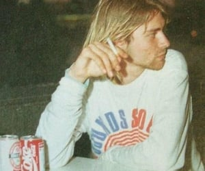 cigarette, coca cola, and kurt cobain image