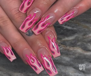 flame, nails, and pink image