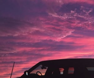 sunset, car, and pink image