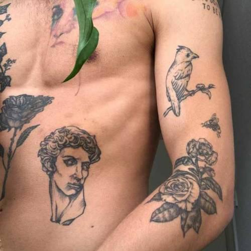 art, boys, and flower tattoo image