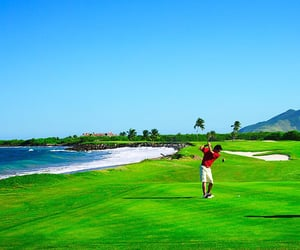 golf course, golfer, and golfing image