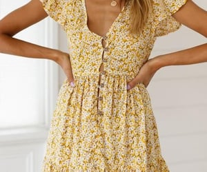 dress, yellow, and floral image