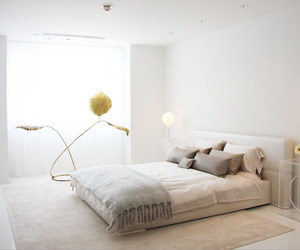bed, lamp, and white image