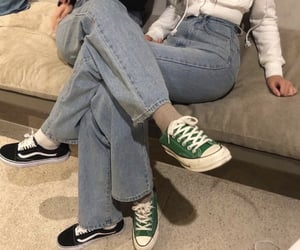 best friends, jeans, and sneakers image