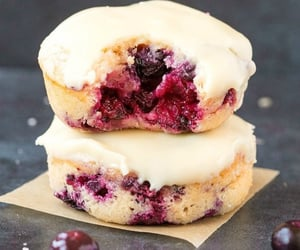 bake, blueberry, and donuts image