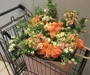 floral, flowers, and shopping cart image