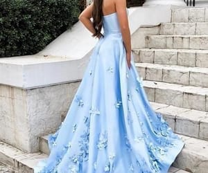 evening gown, satin dress, and blue prom dress image