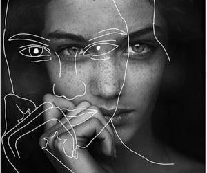 art, girl, and black white image
