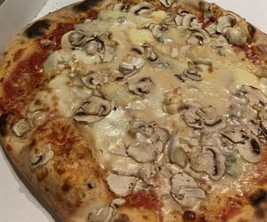 cheese, mushrooms, and pizza image