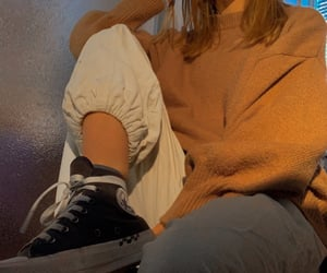 aesthetic, black converse, and caramel image