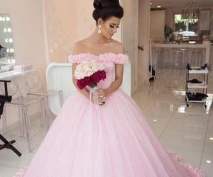 ball gown, off shoulder, and pink tulle image