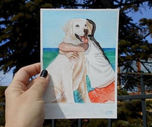 etsy, golden retriever, and watercolor painting image