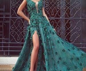 dresses, emerald, and prom dress image