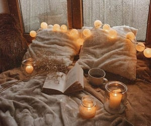 bed, blanket, and candle image