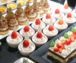 cake, food, and strawberries image