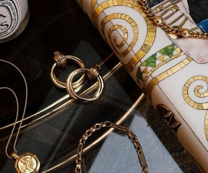 chain necklace, earrings, and gold image