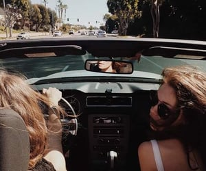 car, girls, and travel image