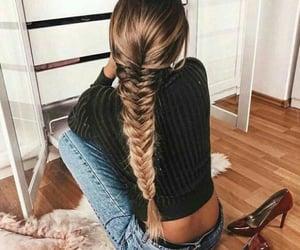 braid, hair, and fishtail image