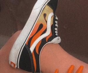 fire, sneakers, and vans image
